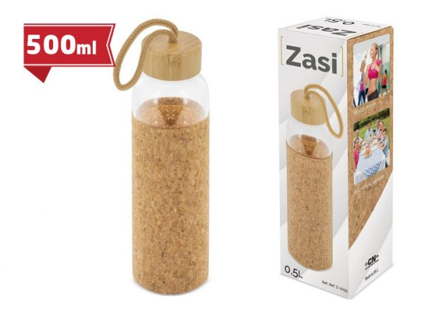 Butelka szklana z bambusową nakrętką i osłoną z korka